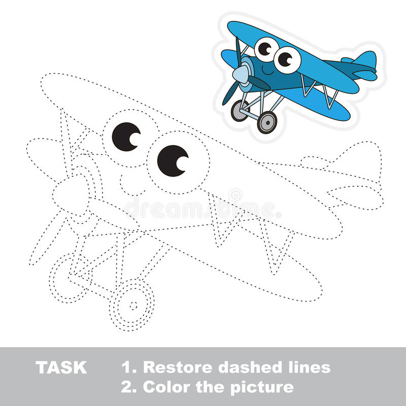 Blue Biplane to be traced. Vector trace game. Blue Biplane in vector to be traced. Easy educational kid game. Simple game level. Restore dashed line and color royalty free illustration