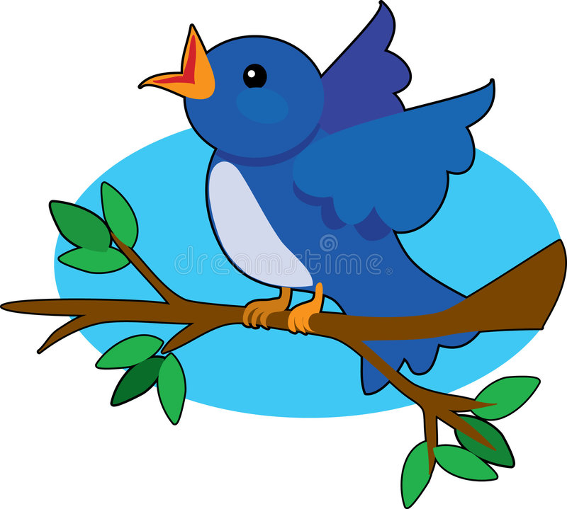 Blue Bird. Singing on a tree branch royalty free illustration