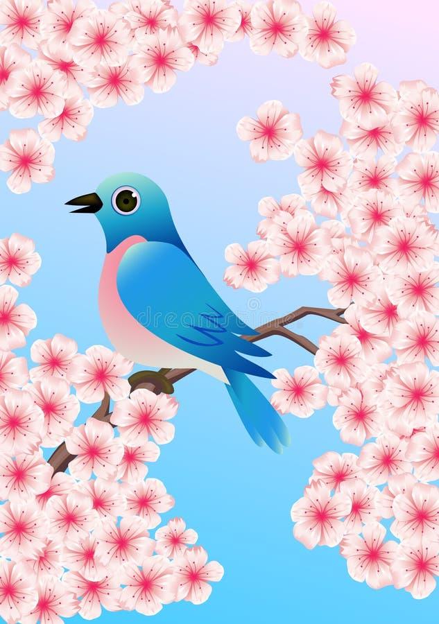Download Blue bird stock vector. Image of nest, keywords, cherry - 14420878