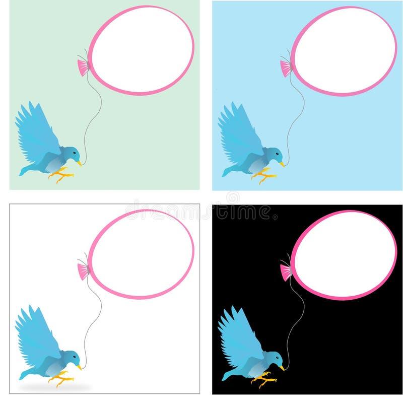 Blue bird with a ballon