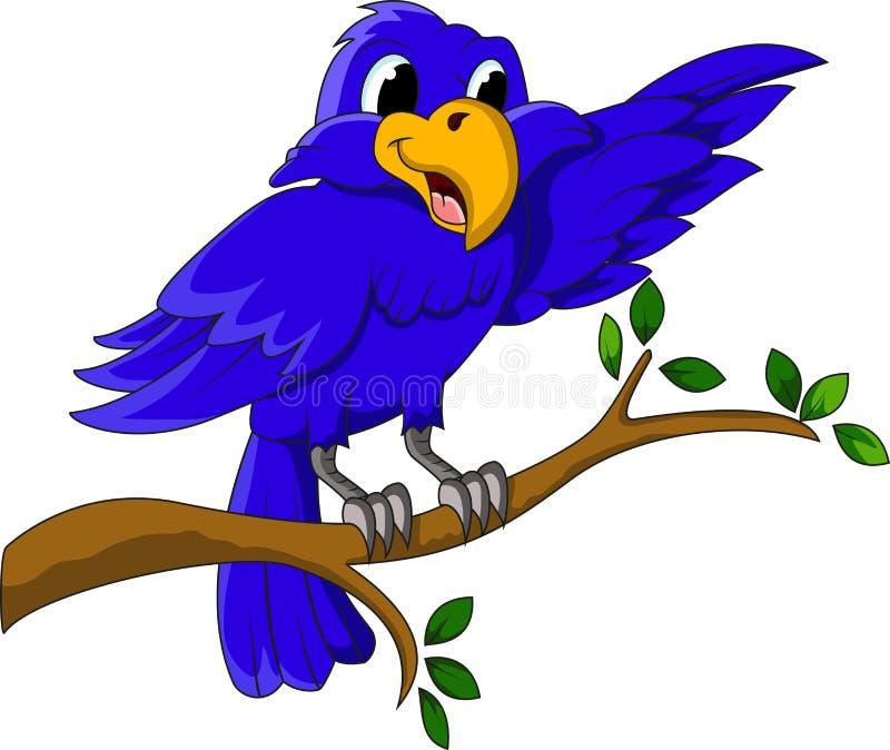 A blue bird cartoon character presenting on branch stock