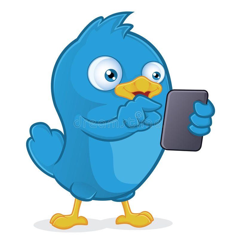Blue Bird Holding Tablet PC. Clipart Picture of a Blue Bird Cartoon Character Holding Tablet PC royalty free illustration