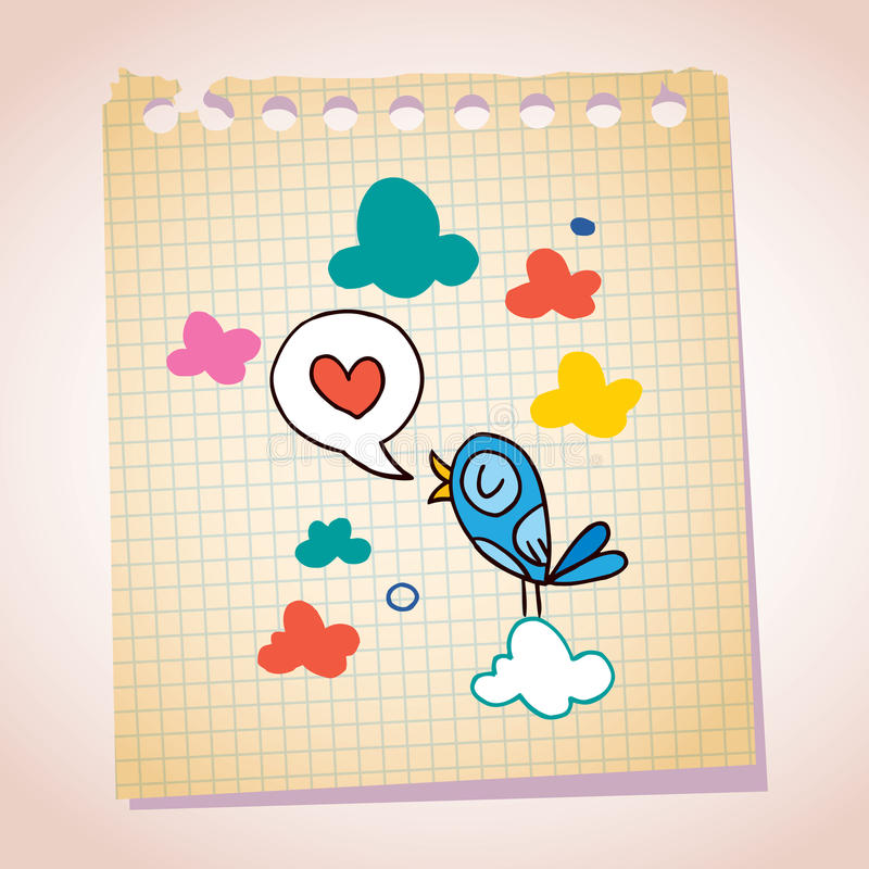 Download Blue Bird Love Message Note Paper Cartoon Sketch Stock Vector - Image: 31230965