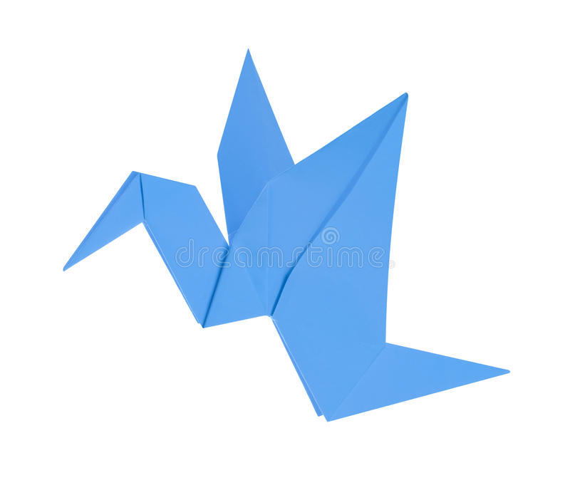 Blue bird from paper stock image