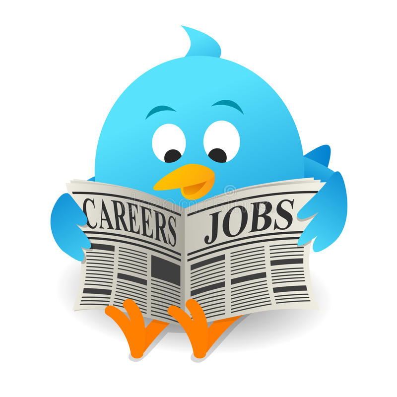 Blue bird Search Jobs. On white background royalty free illustration
