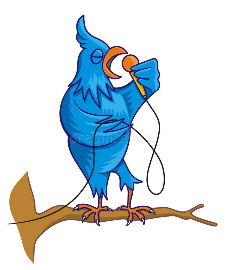 Blue bird singing royalty free illustration