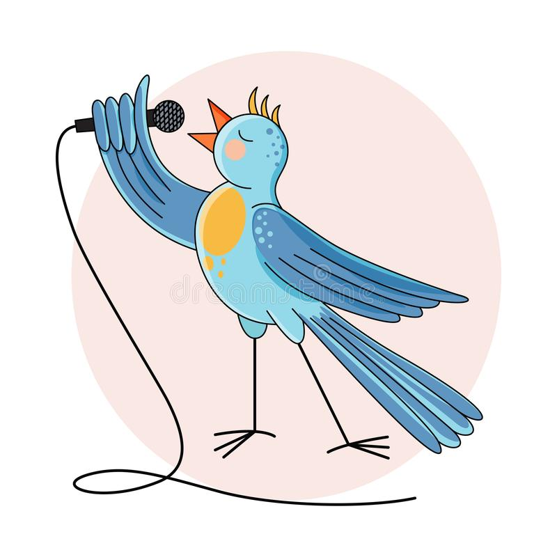 A blue bird sings into a microphone. Vector illustration vector illustration