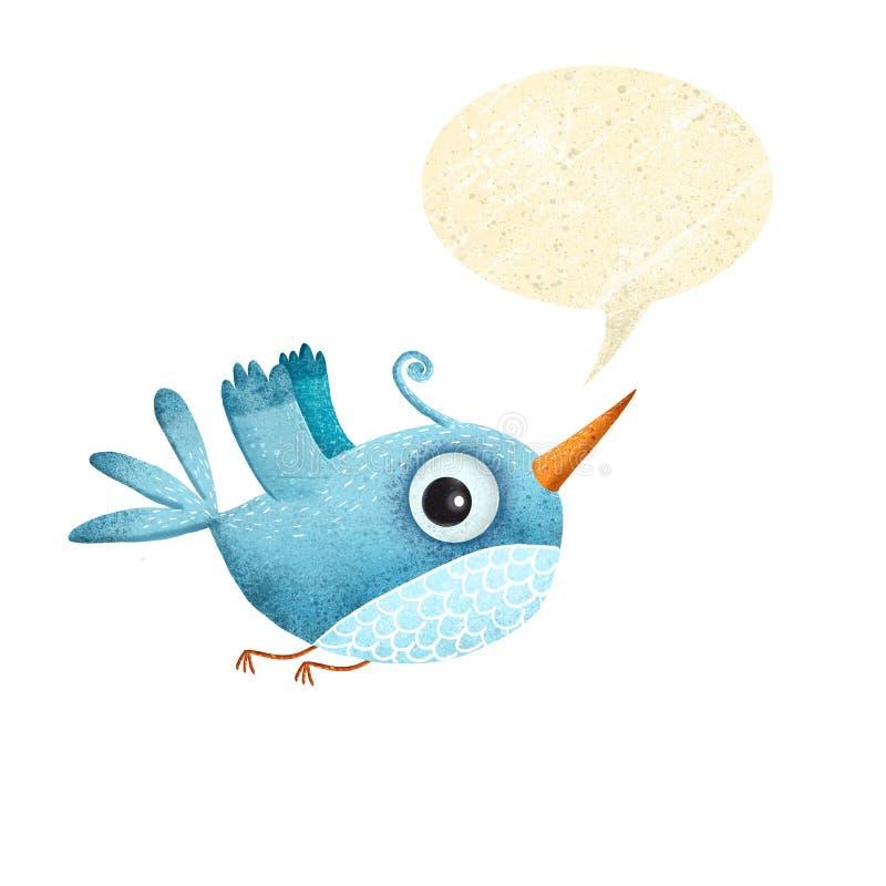 Blue bird with speech bubble.Cartoon bird royalty free illustration