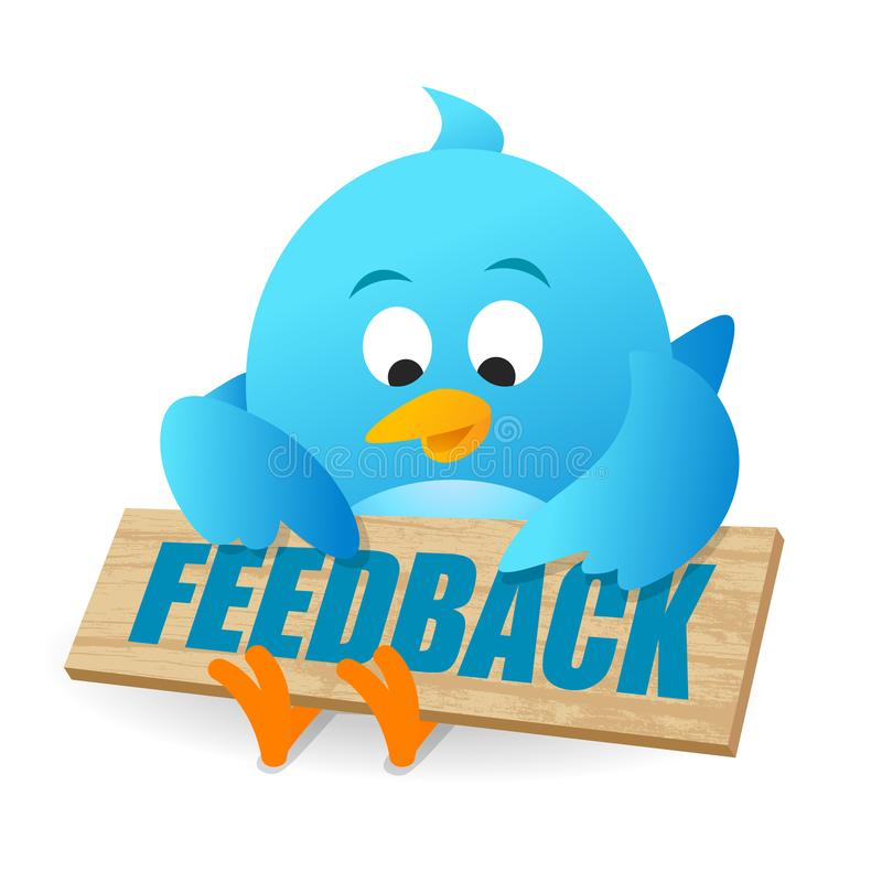 Blue Bird User Feedback Review Announcement Notice Board. On white background stock illustration