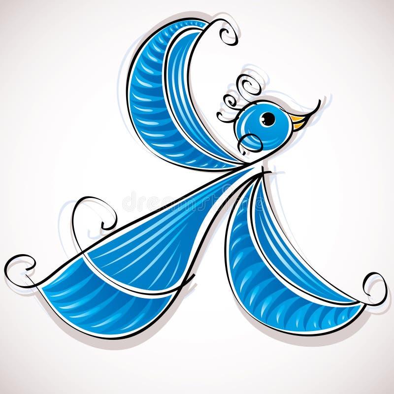 Blue bird vector illustration.