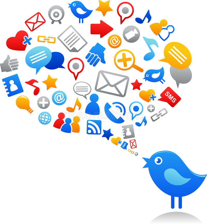 Free Blue Bird With Social Media Icons Stock Image - 19657761