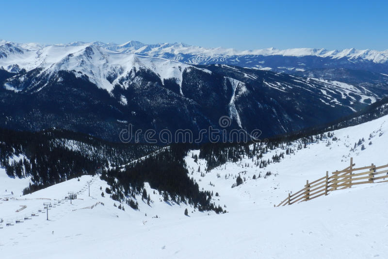 Blue Bird at `Zuma, Montezuma Bowl, Arapahoe Basin, Summit County, Colorado. Continental Divide Skiing at its best. Snowboard and Ski Mecca. Where the Locals royalty free stock photography