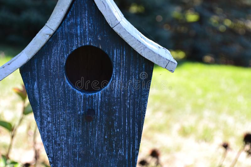 Blue Birdhouse Cropped 2 stock photography