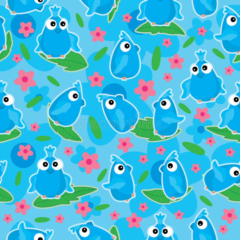 Blue Birds Flower Bloom Seamless Pattern_eps royalty free illustration