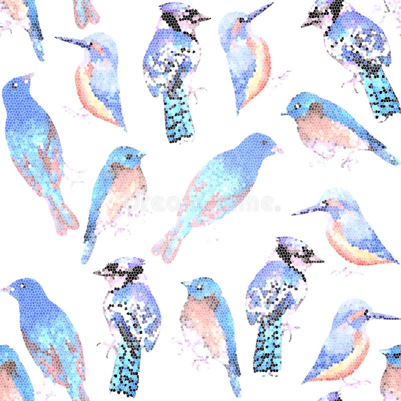 Blue birds in mosaic effect. Blue birds in mosaic or stained glass effect royalty free illustration