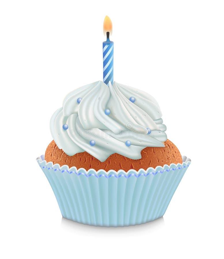 Blue birthday cupcake royalty free illustration