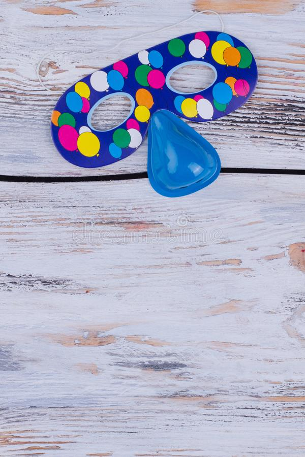 Blue Birthday party mask. royalty free stock images