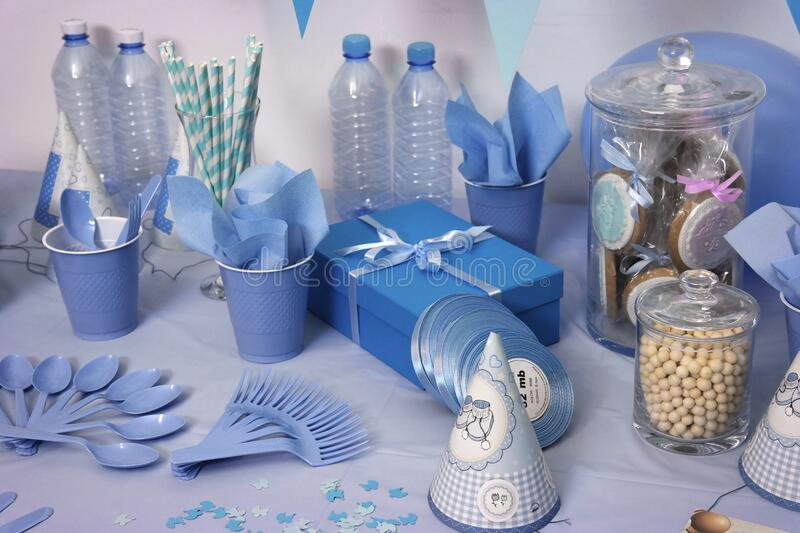 Blue birthday table setting royalty free stock image