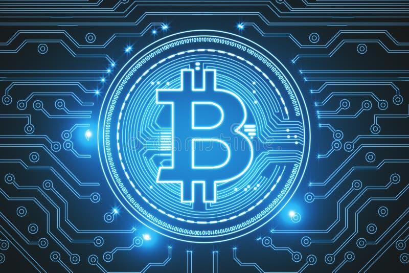 Blue bitcoin backdrop royalty free illustration