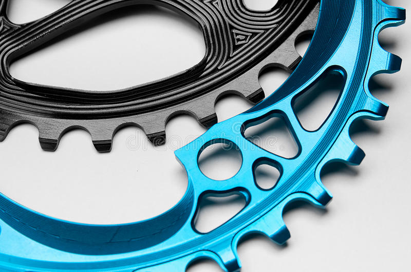 Blue and black Bicycle chainring royalty free stock images