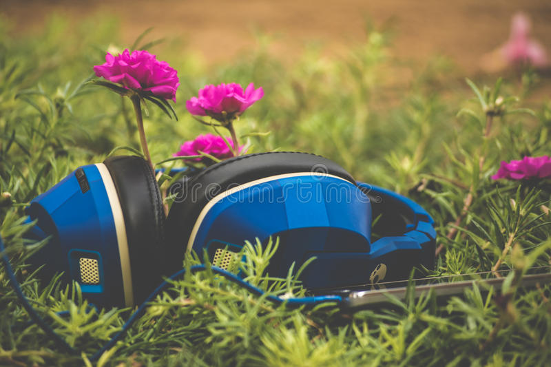Blue And Black Corded Headphones Connected On Phone On Green Grass Free Public Domain Cc0 Image