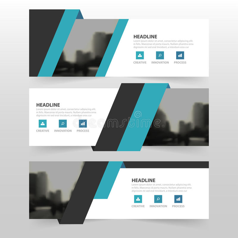 Blue black corporate business banner template, horizontal advertising business banner layout template flat design set. Clean abstract cover header background vector illustration