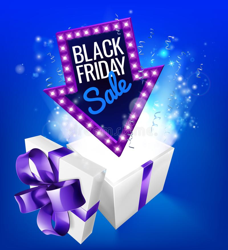 Black Friday Sale Gift Exploding Sign. A blue Black Friday Sale arrow sign exploding out of a gift box with a purple ribbon bow royalty free illustration