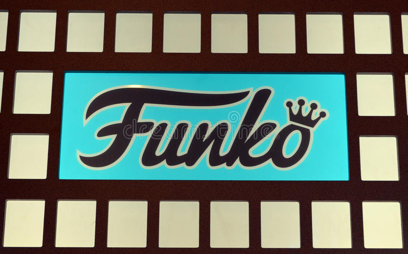 Funko Interior Store Sign. Blue and Black Funko Store Logo Sign royalty free stock photography