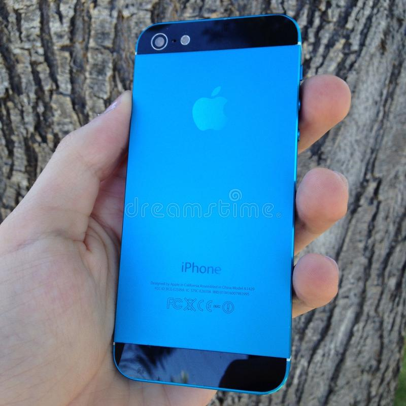 Blue black iphone royalty free stock photo