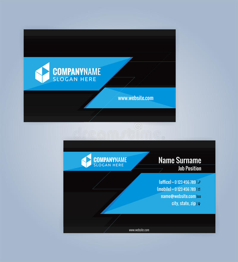 Download Blue And Black Modern Business Card Template Stock Vector