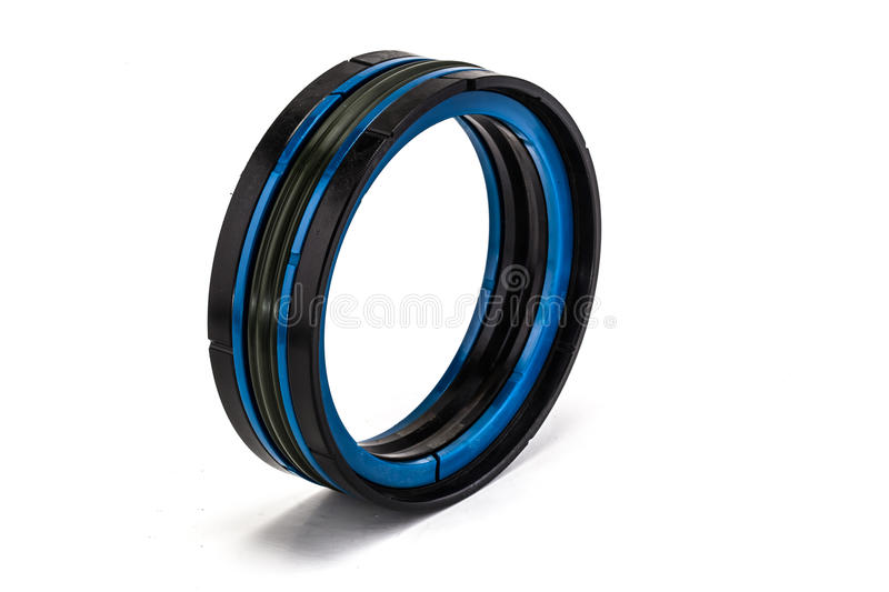 Blue and black oil seal isolated on white background royalty free stock images