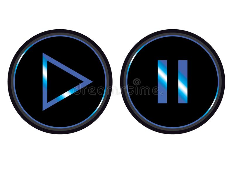 Blue black play pause button icon vector stock illustration