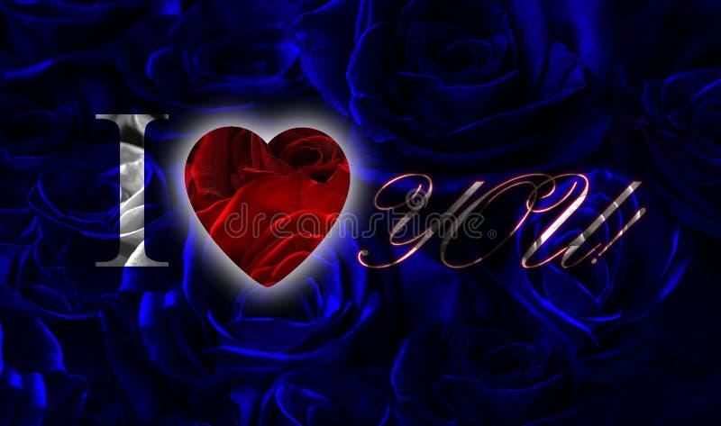 blue black roses red heart i love you blue roses red heart black background greeting card heart i love you 138899694