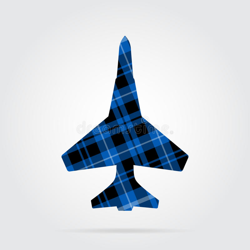 Blue, black tartan isolated icon - fighter. Blue, black isolated tartan icon with white stripes - fighter and shadow in front of a gray background royalty free illustration