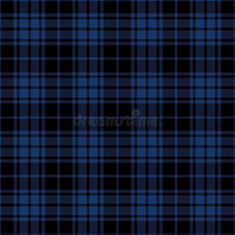 Blue And Black Tartan Plaid Lumberjack Textile Pattern stock image