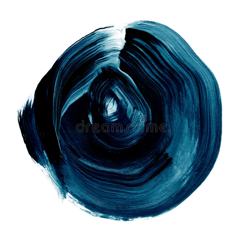 Blue black textured acrylic circle. Watercolour stain on white background. royalty free illustration