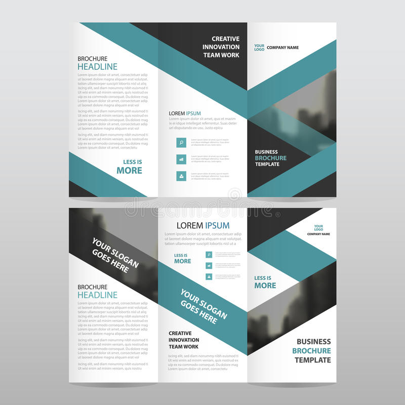 Blue black triangle business trifold Leaflet Brochure Flyer report template vector minimal flat design set, abstract three fold stock illustration