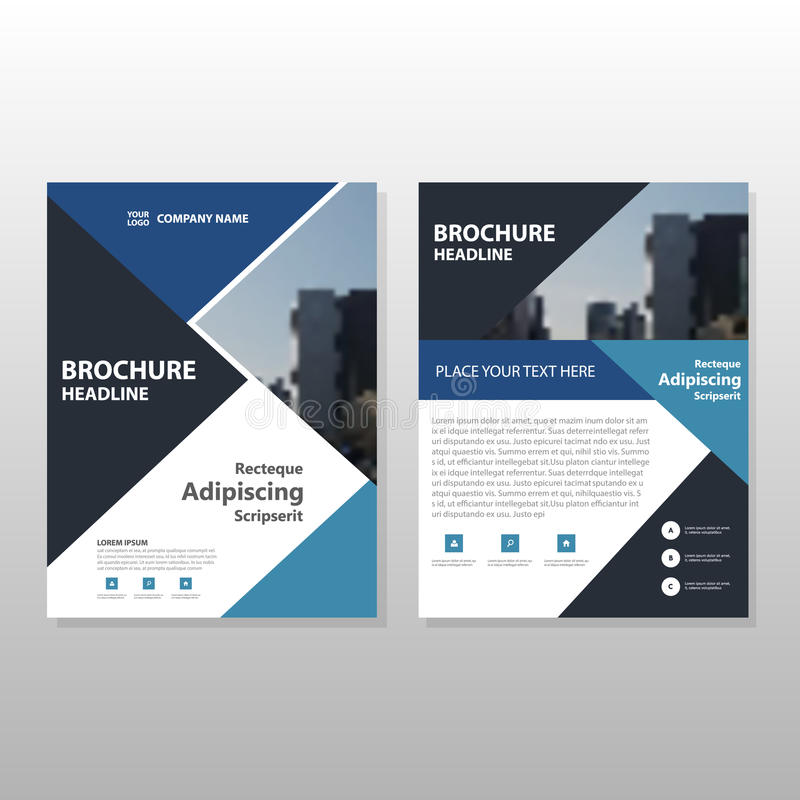 Blue black Triangle Vector annual report Leaflet Brochure Flyer template design, book cover layout design royalty free illustration