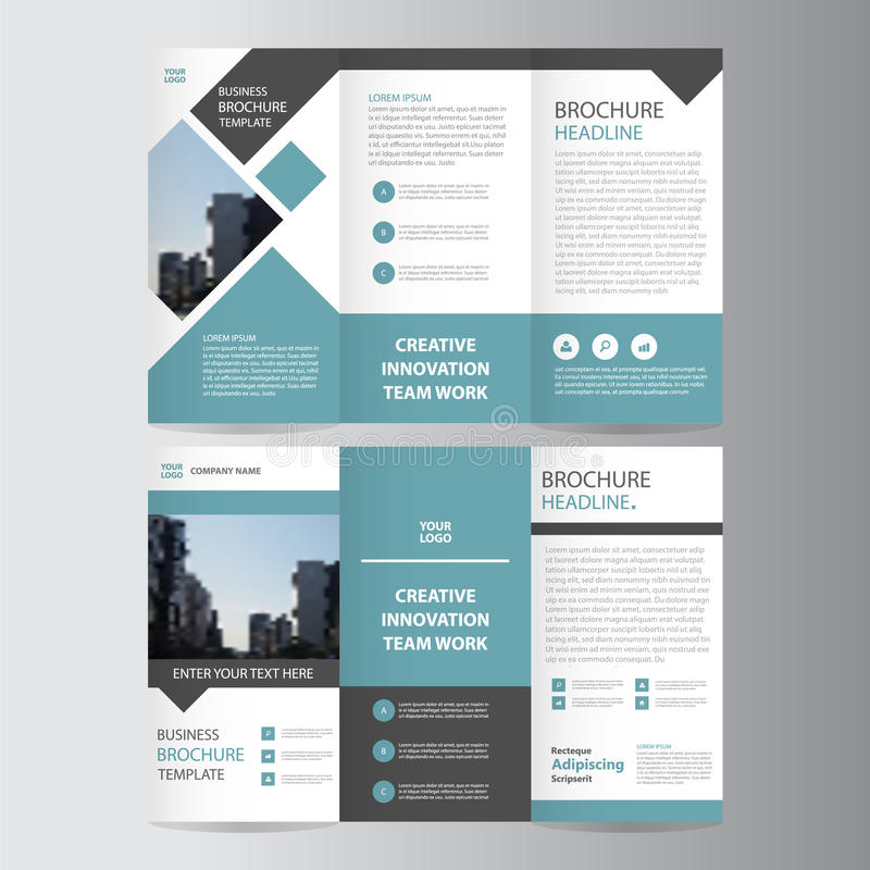 Blue black trifold leaflet brochure flyer template design for Templates for brochures