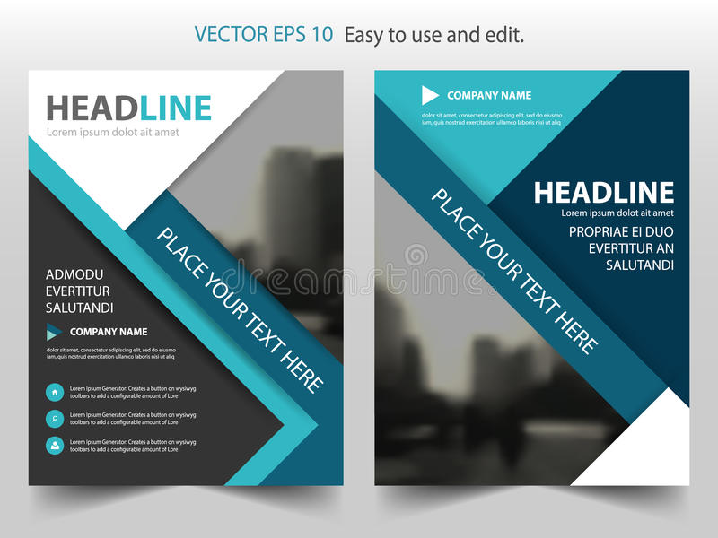 Blue Black Vector annual report Leaflet Brochure Flyer template design, book cover layout design, abstract business presentation royalty free illustration
