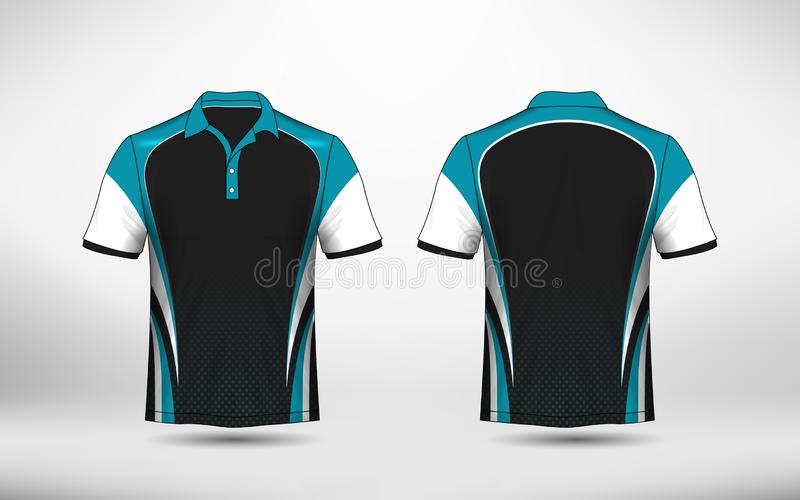 Blue, black and white layout e-sport t-shirt design template vector illustration