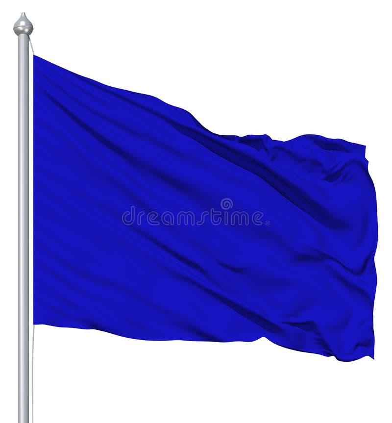 Blue blank flag with flagpole royalty free illustration