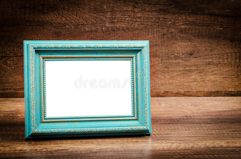 Download Blue Blank Photo Frame On Wooden Room. Stock Image - Image of free, empty: 92692007