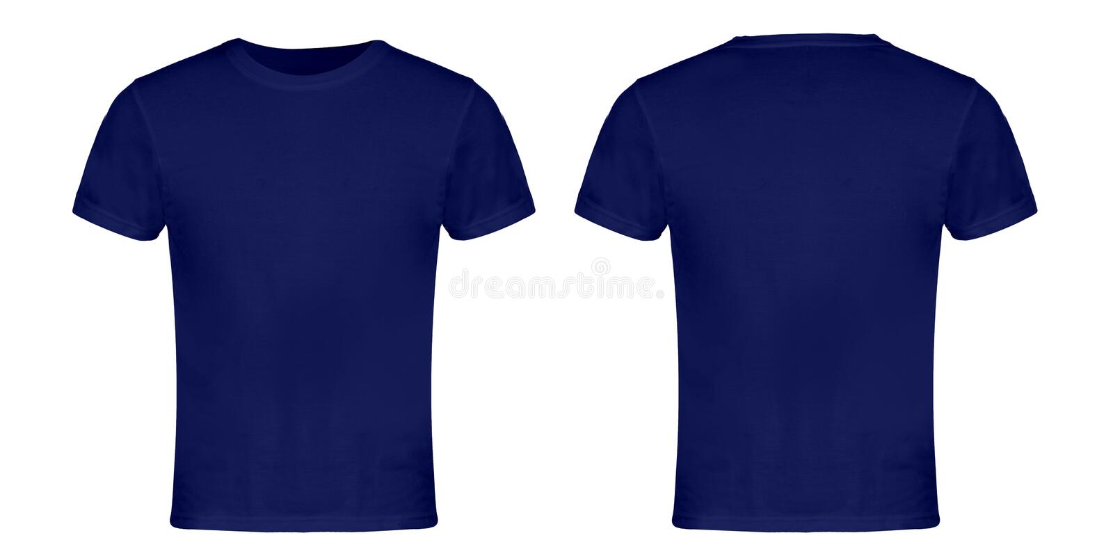 Blue Blank T-shirt Front and Back stock image