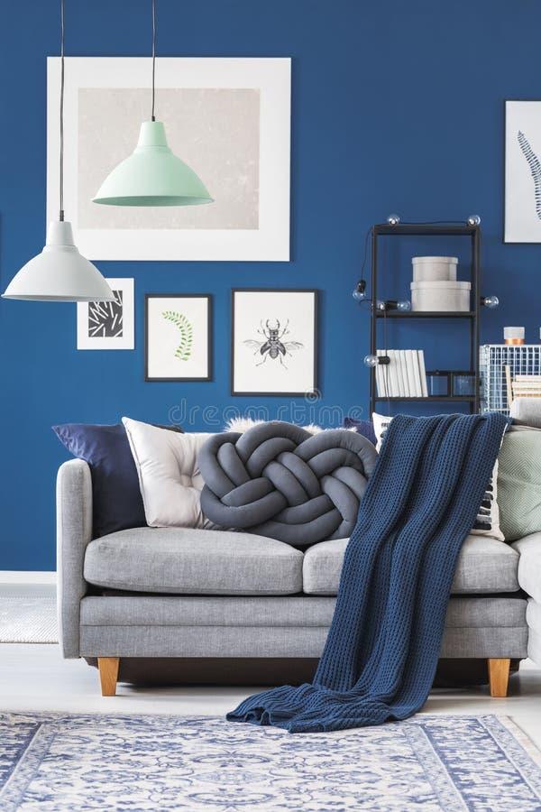 Blue Blanket On Grey Sofa Stock Image Image Of Grey 104300943