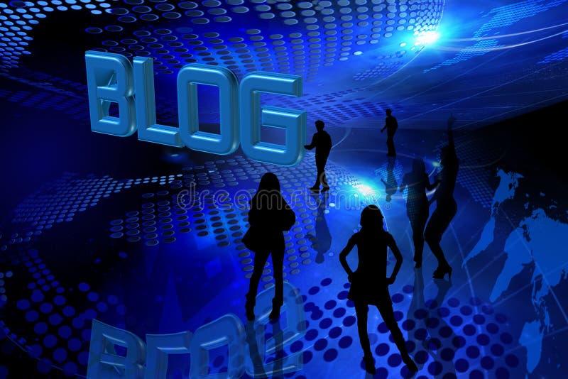 Blue blog background stock image
