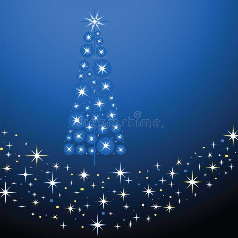 Blue blue christmas. Christmas tree made of bulbs and stars over band of stras vector illustration