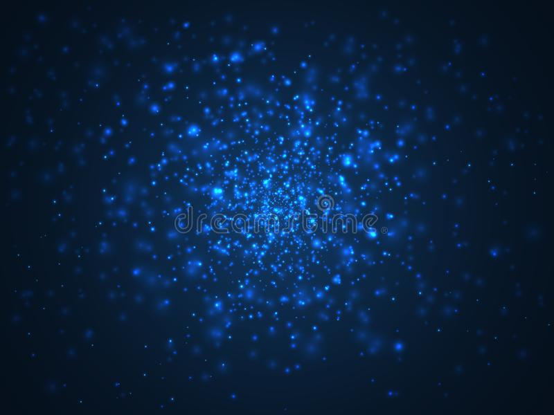 Blue blur abstract background, sky with stars. Cosmos vector royalty free illustration