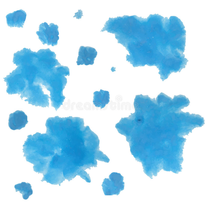 Blue blur acrylic or watercolors on white paper. royalty free illustration