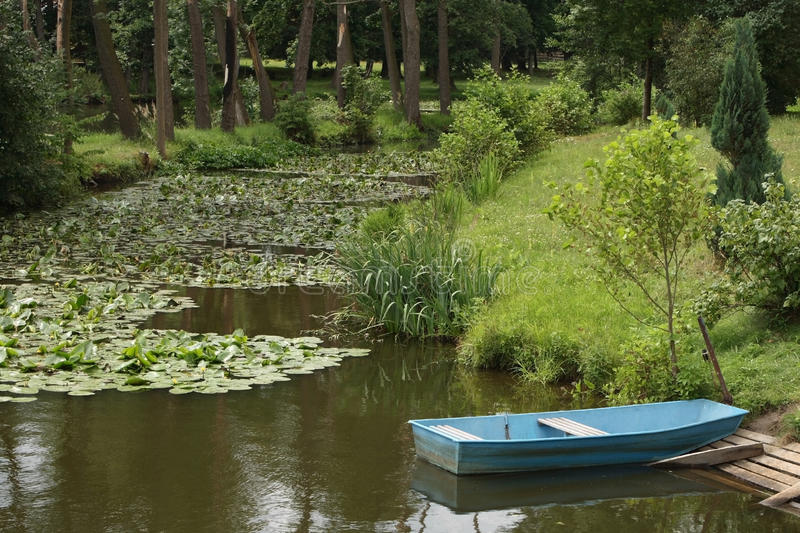 Download Blue boat stock image. Image of blue, empty, life, trees - 28994125
